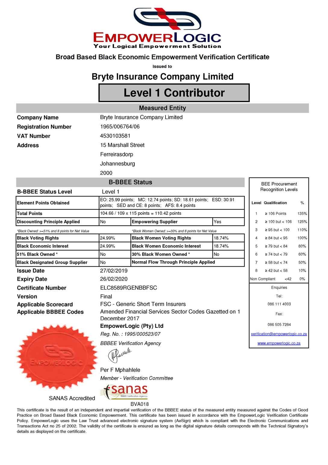 Bryte Insurance   BEE Certificate