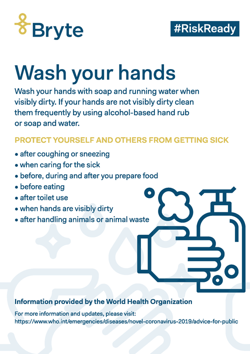 Bryte Insurance | Wash your hands poster
