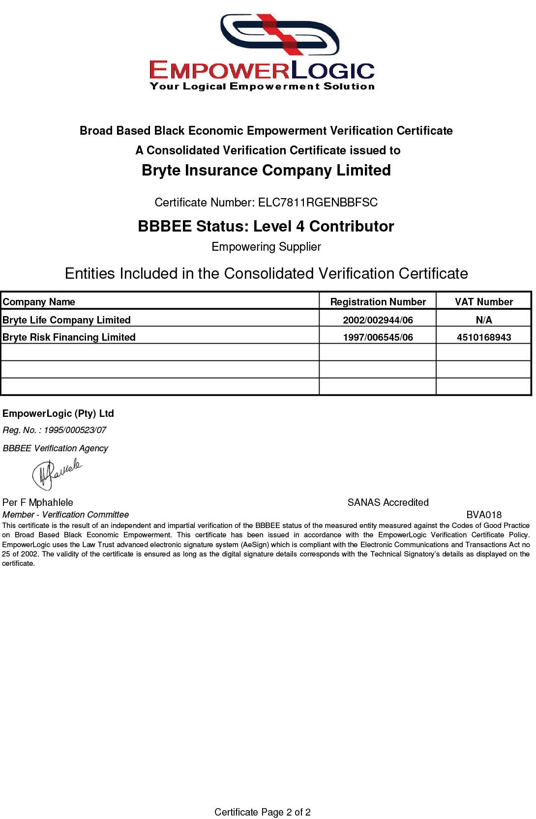 Bryte Insurance | BEE Certificate